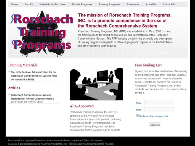 Rorschach Training Programs